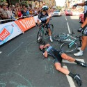 Britain's Mark Cavendish lies injured after a fall near the finish line at the end of the 190.5 km first stage of the 101st edition of the Tour de France cycling race between Leeds and Harrogate, northern England.  The 2014 Tour de France gets underway on July 5 in the streets of Leeds and ends on July 27 down the Champs-Elysees in Paris.  (Fred Mons/Pool/AFP-Getty Images)