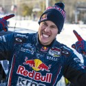 Bryce Menzies celebrates after winning the finals at Red Bull Frozen Rush at Sunday River in Newry, Maine, USA on 09 January 2015. // Garth Milan/Red Bull Content Pool // P-20150110-00062 // Usage for editorial use only // Please go to www.redbullcontentpool.com for further information. //
