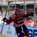 WASHINGTON, DC - JANUARY 01:  Alex Ovechkin #8 of the Washington Capitals celebrates after scoring in the first period of the 2015 NHL Winter Classic against the Chicago Blackhawks at Nationals Park on January 1, 2015 in Washington, DC.  (Photo by Rob Carr/Getty Images)