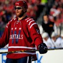 WASHINGTON, DC - JANUARY 01:  Karl Alzner #27 of the Washington Capitals wears sunglasses during the 2015 NHL Winter Classic against the Chicago Blackhawks at Nationals Park on January 1, 2015 in Washington, DC.  (Photo by Rob Carr/Getty Images)