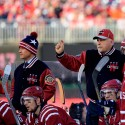 WASHINGTON, DC - JANUARY 01: Head Coach Barry Trotz of the Washington Capitals signals during the second period of the 2015 NHL Winter Classic against the Chicago Blackhawks at Nationals Park on January 1, 2015 in Washington, DC.  (Photo by Rob Carr/Getty Images)