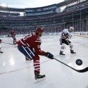 Washington Capitals center Jay Beagle (83) defends as Chicago Blackhawks defenseman Niklas Hjalmarsson (4), from Sweden, clears the puck in the third period of the Winter Classic outdoor NHL hockey game at Nationals Park, Thursday, Jan. 1, 2015, in Washington. The Capitals won 3-2. (AP Photo/Alex Brandon)