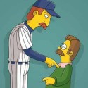 "THE SIMPSONS: Ned meets the New York Yankee\'s Randy Johnson (pictured), and Bart is kidnapped by a monkey on THE SIMPSONS episode ""Bart Has Two Mommies"" airing Sunday, March 19 (8:00-8:30 PM ET/PT) on FOIX.  ™©2006THE SIMPSONS and TCFFC ALL RIGHTS RESERVED.  ©2006FOX BROADCASTING  CR:FOX"
