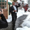 Democratic presidential candidate Sen. Barack Obama winds-up to throw a snowball at campaign staff members following a roundtable discussion at the Loaf and Ladle Tavern in Exeter Thursday. Rich Beauchesne/rbeauchesne@seacoastonline.com