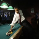 Democratic presidential hopeful, Sen. Barack Obama, D-Ill., plays pool at Schultzie's bar in South Charleston. W.Va., Monday, May 12, 2008, in anticipation of the state's primary election Tuesday.  (AP Photo/Jae C. Hong)