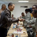 President Barack Obama greets U.S. troops at a mess hall at Bagram Air Field in Afghanistan, March 28, 2010. (Official White House Photo by Pete Souza)
