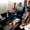 "(FILES):  This May 1, 2011 official White House photo shows US President Barack Obama (2nd L), Vice President Joe Biden (L), US Secretray of Defense Robert Gates (R), and US Secretary of State Hillary Clinton (2nd R) with members of the national security team as they receive an update on the mission against Osama bin Laden in the Situation Room of the White House, in Washington, DC.  Nearly a year after a US raid that killed Osama bin Laden, his core Al-Qaeda network in Pakistan is ""essentially gone"" but its affiliates remain a threat, US intelligence officials said April 27, 2012.  EDITORS PLEASE NOTE: A classified document seen in this photograph has been obscured.     AFP PHOTO / THE WHITE HOUSE /   Pete SOUZA   == RESTRICTED TO EDITORIAL USE / MANDATORY CREDIT:  ""AFP PHOTO / THE WHITE HOUSE / Pete SOUZA"" / NO SALES / NO MARKETING / NO ADVERTISING CAMPAIGNS / DISTRIBUTED AS A SERVICE TO CLIENTS =="