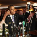 23-5-11………OFFICIAL VISIT TO IRELAND BY THE PRESIDENT OF THE UNITED STATES BARAK OBAMA AND FIRST LADY MICHELLE OBAMA. PIC SHOWS US PRESIDENT BARAK OBAMA IN HAYES BAR IN HIS ANCESTRAL HOME OF MONEYGALL, CO. OFFALY, IRELAND WHERE HE ENJOYED A PINT OF GUINNESS. PIC. MAXWELLS DUBLIN NO REPRO FEE