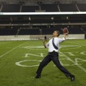 President Barack Obama throws a football on the field at Soldier Field following the NATO working dinner in Chicago, Illinois, May 20, 2012.  (Official White House Photo by Pete Souza)