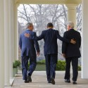 President Barack Obama escorts former Presidents Bill Clinton and George W. Bush back to the Oval Office  at the White House in Washington. Obama asked the former presidents to help with U.S. relief efforts in Haiti after the earthquake.