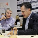 Republican presidential candidate, former Massachusetts Gov. Mitt Romney, right, and Sen. Rob Portman, R-Ohio, call eligible voters from his campaign headquarters in Charleston, S.C., Thursday, Jan. 19, 2012. (AP Photo/Charles Dharapak)