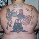 thumbs Star Wars tattoo on guys back