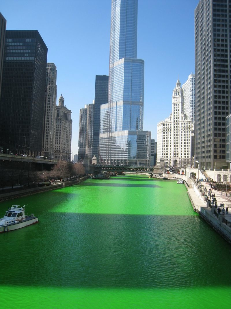 Chicago River Dyed Green