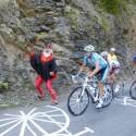 Tour Teufel Didi Senft und Ausreisser Luke Roberts auf der 15. Etappe der Tour de France am 19.07.2010 von Pamiers nach Bagneres-de-Luchon