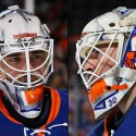thumbs new york islanders jean francois berube goalie mask