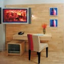 thumbs hotel guestroom plasma screen tv and desk
