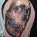 thumbs creepy eyes skull halloween tattoo