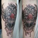 thumbs evil clown halloween tattoo