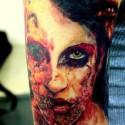 thumbs half woman half skull halloween tattoo