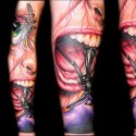 screaming-spider-halloween-tattoo