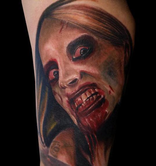 Tattoo Woman Zombie: Creepy, Spooky, Scary Halloween Tattoos