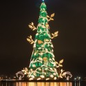 View of an 85 meter-high Christmas tree at Cantagalo park in Rio de Janeiro, Brazil, on November 30, 2013. 3.1 million lights will illuminate the Christmas tree every night until the end of the year.  AFP PHOTO / YASUYOSHI CHIBA        (Photo credit should read YASUYOSHI CHIBA/AFP/Getty Images)