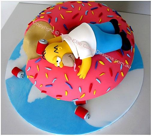 Novelty Cake Design Ideas : Homer Simpson Donut Extravaganza