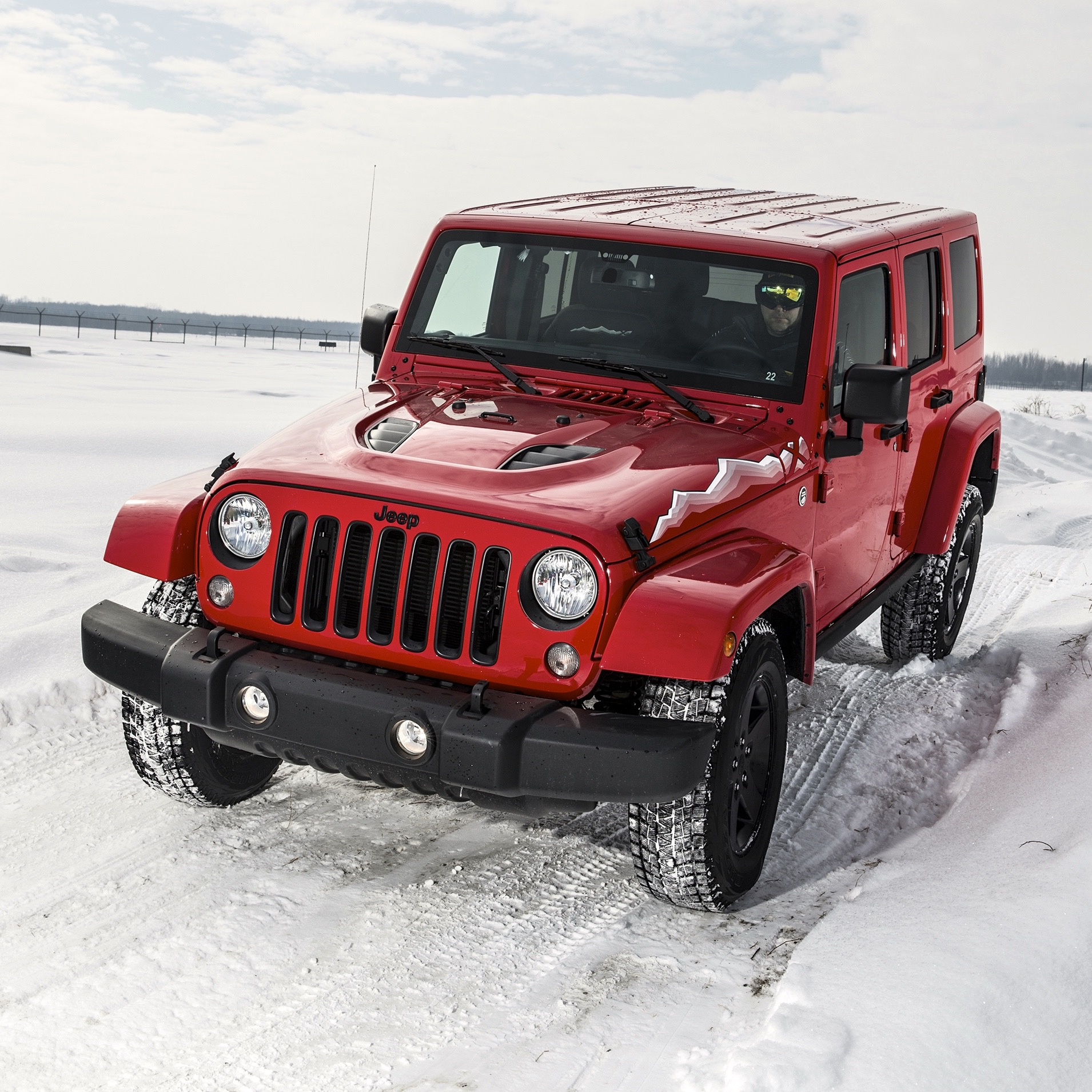 off road in the snow with jeep. Black Bedroom Furniture Sets. Home Design Ideas