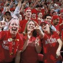 Badger basketball fans cheer on the men's basketball team during a game at the Kohl Center.©UW-Madison University Communications 608/262-0067Photo by: Jeff MillerDate:  2002    File#:  color slide
