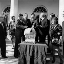 "AR8247-F					19 November 1963  Presentation of a Thanksgiving Turkey to President Kennedy, 10:00AM.  Please credit ""Abbie Rowe. White House Photographs. John F. Kennedy Presidential Library and Museum, Boston"""