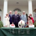 11/18/1981 President Reagan during the ceremony to receive the First Thanksgiving Turkey from the National Turkey Federation in the Rose Garden.