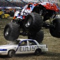 MICHAEL DeMOCKER / THE TIMES-PICAYUNE Cam McQueen and his monster truck Nitro Circus, in town for tomorrow night\'s Monster Jam at the Superdome, crush an Indianapolis Colts car on Friday, January 29, 2010.