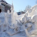SAPPORO, JAPAN - FEBRUARY 04:  Ice sculptures are on display at Odori Park  on February 4, 2009 in Sapporo, Japan. The 60th Sapporo Snow Festival takes place from February 5 to 11, with more than 2 million tourists expected to visit the festival.  (Photo by Junko Kimura/Getty Images)