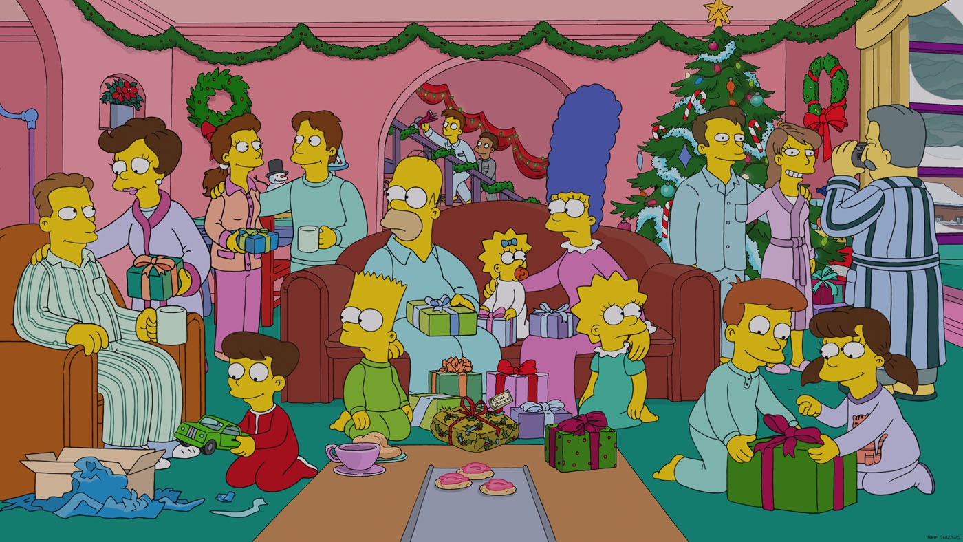 Christmas with the simpsons for Simpsons wallpaper for bedroom