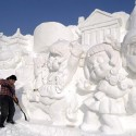 A giant snow sculpture at the 20th Harbin International Ice-Snow Sculpture Expo in China.