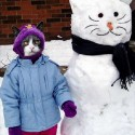 thumbs snowman kitty