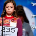 "Eliette Dominique Albrecht of Greenwood, South Carolina, misspelled ""piatti,"" a word for cymbals, during the 2009 Scripps National Spelling Bee competition."