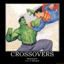 thumbs crossovers superman the incredible hulk d c comics marvel cr demotivational poster 1249530382