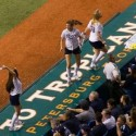 thumbs rays cheerleaders on the dugout