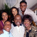 The cast of FAMILY MATTERS, clockwise from bottom-right: Orlando Brown, Jaleel White, Kellie Shanygne Williams, Michelle Thomas, Darius McCrary, JoMarie Payton Noble, and Reginald VelJohnson.