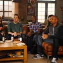 "NEW GIRL:  The gang (L-R:  Zooey Deschanel, Jake Johnson, Lamorne Morris, Hannah Simone and Damon Wayans, Jr.) listens to Schmidt as he decides on a theme for their Thanksgiving dinner party in the ""Thanksgiving IV"" episode of NEW GIRL airing Tuesday, Nov. 25 (9:00-9:30 PM ET/PT) on FOX.  ©2014 Fox Broadcasting Co.  Cr:  Ray Mickshaw/FOX"