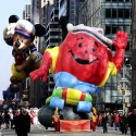 The Kool-Aid Man balloon and the Mickey Mouse balloon participate in the 86th annual Macy's Thanksgiving Day Parade in New York. (Librado Romero/The New York Times)