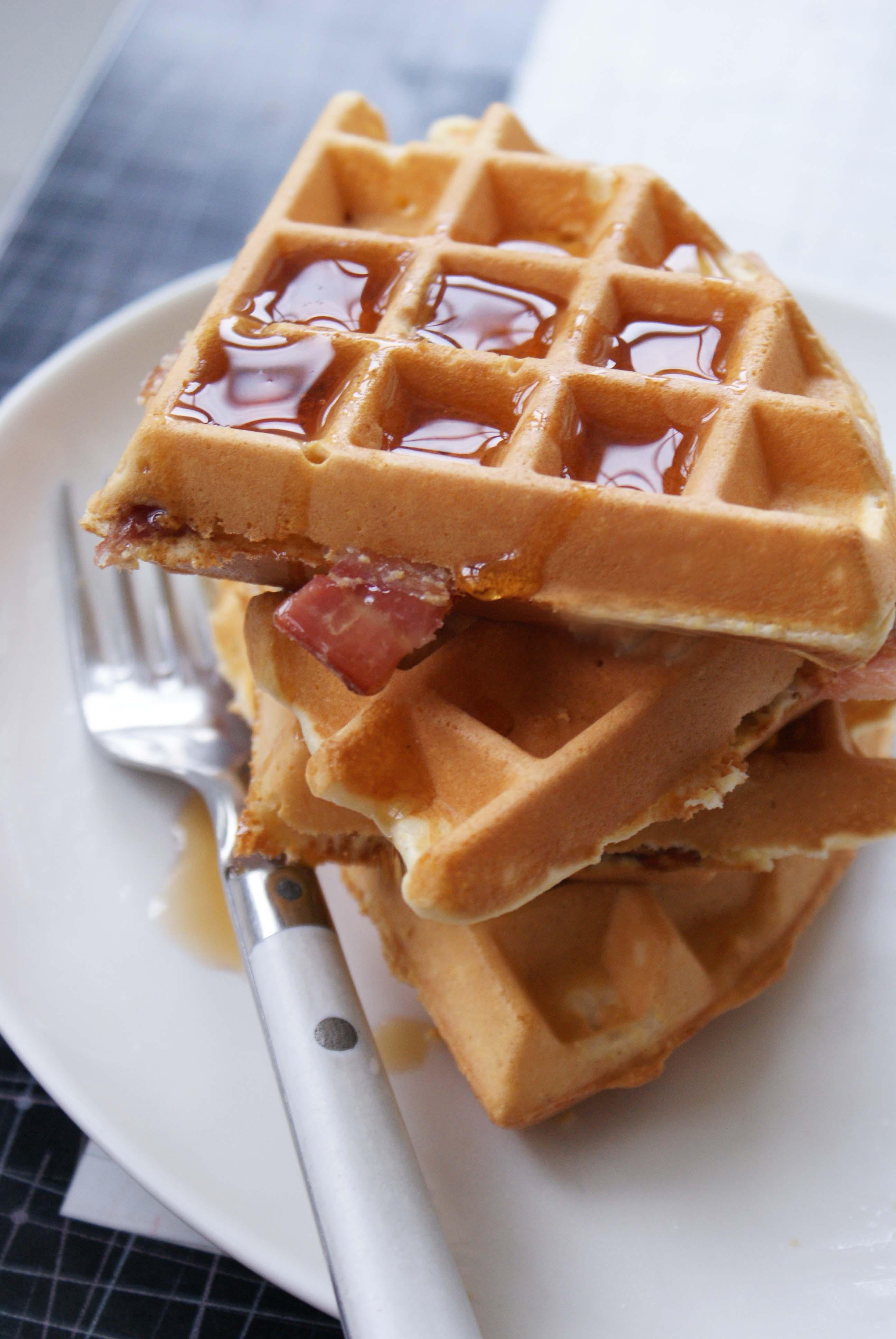 thumbs bacon cornmeal waffles