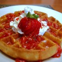 thumbs strawberries waffle