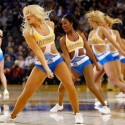 Jan 9, 2015; Oakland, CA, USA; Cheerleaders from the Golden State Warriors dance team perform during a timeout agains the Cleveland Cavaliers in the first quarter at Oracle Arena. The Warriors defeated the Cavaliers 112-94. Mandatory Credit: Cary Edmondson-USA TODAY Sports