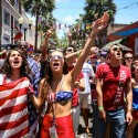 US Soccer fans react during a watch party at the Wall Street Plaza in Downtown Orlando, Fla. to watch the USA vs Germany match on Thursday June 26, 2014.  (Joshua C. Cruey \ Orlando Sentinel)
